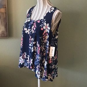 Style & Co floral sleeveless high low top